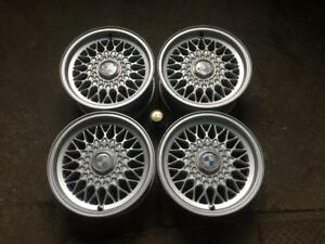 "4 BMW 15"" 5-Series 1989-95 / 6-Series 1976-90 / 7-Series 1986-94 FACTORY ORIGINAL DIAMOND SPOKE SILVER MAGS 36111179774"