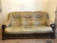 Wooden and leather 3 seater and 2 seater sofa for sale