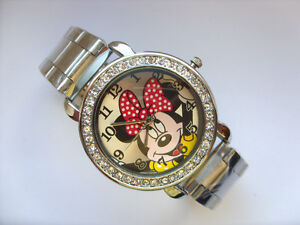 Unusual Crystal Minnie Mouse Adult Stainless Steel Watch