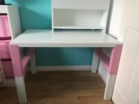 Children's Ikea desk with Add on Unit (pink & white)