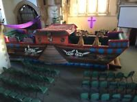 Assault course, pirate ship Noah's ark bouncy castle