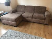 Extremely comfy 3 seater, fabric l-shaped sofa