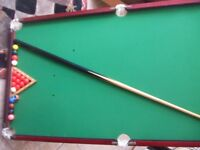 snooker table top set, 122 x 63cm, all the balls and one kew