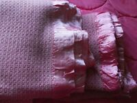 Two Vintage/Retro - 100% pure washed wool - Single Cellular Blankets in pinks