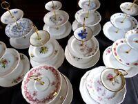 10 Vintage China Porcelain 3 Tier Cake Stands (Job Lot) Wedding / Tea Room