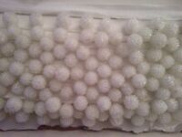 WHITE BEADED BALL TRIMMING / BRAIDING /CURTAIN/ FABRIC