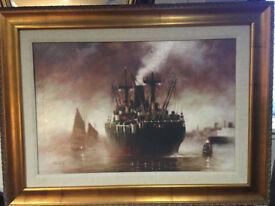 Impressive Large John Kelly – Framed Steamship Painting - Giclee