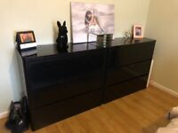 Black gloss bedroom draws
