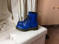 Patent royal blue DM boots