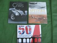 Three Books - Classic Cars, Spitfire and 50 Famous British Locomotives - £5.00 each