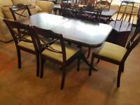 Large extendable table and 6 chairs set