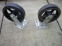 Casters Heavy Duty 200mm Rubber Tyres, pair