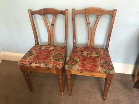 Pair of Stylish Ducal Antique Solid Pine Dining Room Chairs / Kitchen Chairs Excellent conditionR111