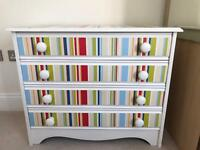 Brightly coloured children's drawer unit