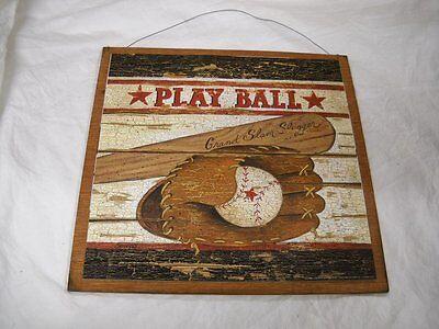 Play Ball Baseball Boys Sports Bedroom wood Wooden Wall Art Sign