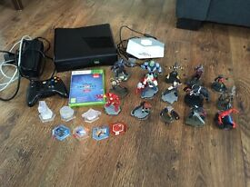 Xbox 360 with Disney infinity game and figures