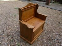 MONKS BENCH. PINE PEW WITH STORAGE. Delivery possible. ALSO OLD CHURCH PEWS & SETTLE