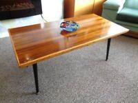 Vintage 1960's Walnut Top Coffee Table