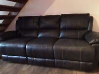 Brown leather 3 seat sofa & black arm chair