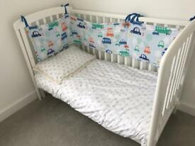 Johnlewis Cot with Mattress and Mattress Protector