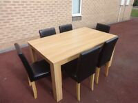 Beech colour dining table & 6 chairs