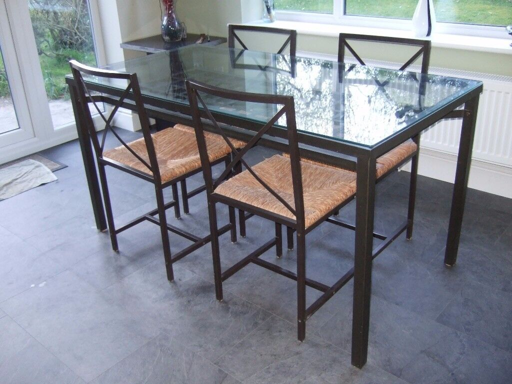 Ikea Granas Glass And Metal Dining Table And 4 Chairs