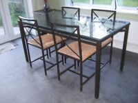 IKEA GRANAS GLASS AND METAL DINING TABLE AND 4 CHAIRS £45