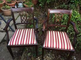 2 regency style dinning chairs