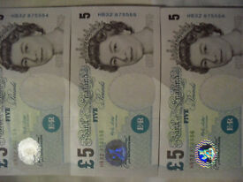 3 Merlyn Lowther £5 banknotes (2002) in sequential order