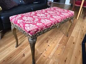 Mahogany 19th century piano/bed stool red velvet gold
