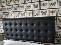 Black Double Headboard with Crystals