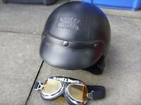 Harley Davidson Open Face Black Leather Motorcycle Helmet + Motorbike Goggles Size M / Medium - Used