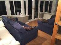 2x matching sofas sofa, blue with cushions