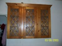 Solid Pine Gl Fronted Wall Display Cabinet