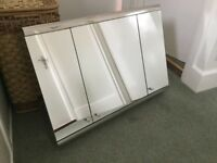 Stainless steel and mirrored bathroom cabinet