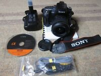 Sony A550 DSLR, 18- 55 SAM 2 Lens, 2 Batteries, Charger, Manual, Grip, Mint condition.