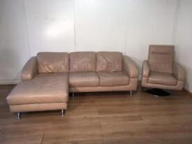 Beige real leather corner sofa and swivel chair with free delivery within 10 miles