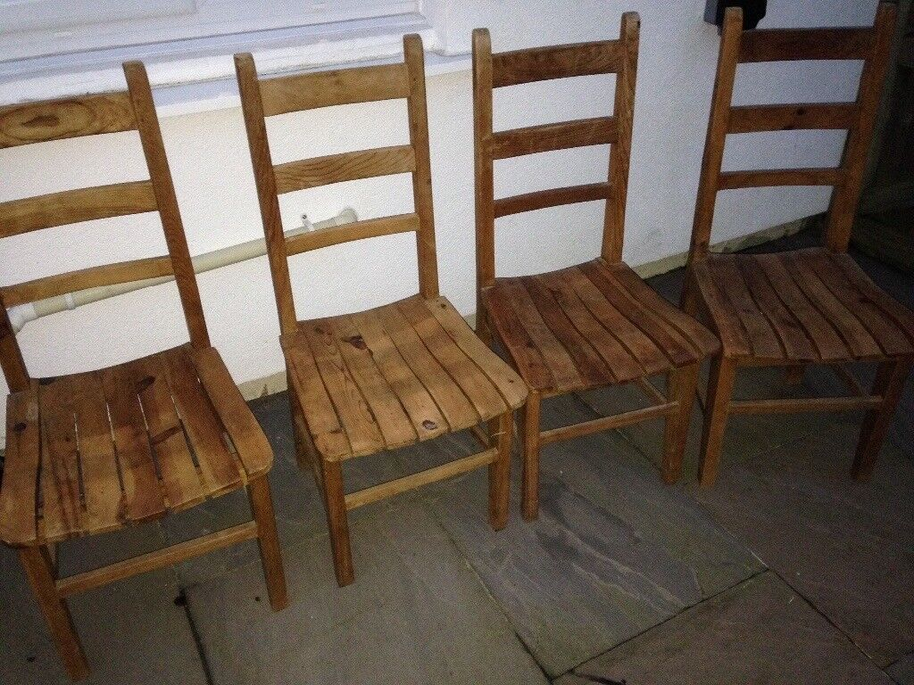 4 Rustic wooden farmhouse cottage style chairs