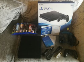 PS4 slim boxed with headphones, games and optional 1TB or 2TB hard drive upgrade