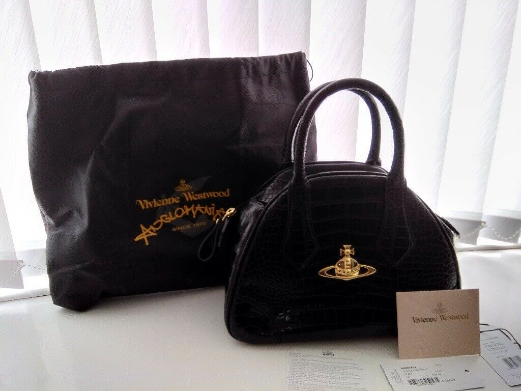 efb18ecbcd6 Vivienne Westwood black mock croc handbag with authenticity | in ...