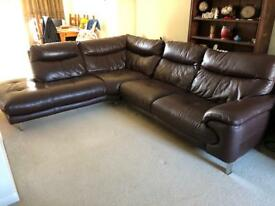 Brown Corner Leather Sofa