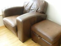 Lovely comfy aged look real leather Armchair with matching Footstool