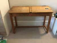 Vintage 1950 S Double School Desk In Excellent Condition Upcycle Or Use As