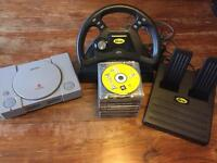 Play PlayStation 1 Like it's the 90's. (PS1 Console, Mad Catz Driving Wheel & 10 Classic Games)