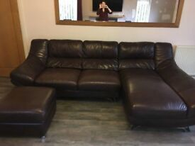 BEAUTIFUL BROWN LEATHER CORNER SOFA WORTH OVER £5k+ FOOTSTOOL FOR SALE MUST GO ASAP -DELIVERED-£550