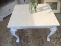 Coffee side Table Stand Shabby Chic Solid Carved Wood Vintage