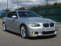 2008 BMW 330D M SPORT CONVERTIBLE AUTOMATIC - 80k - FSH - RED LEATHER - NAV - XENONS - FINANCE PX