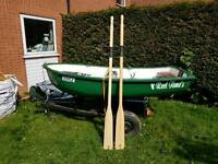 8ft Rowing boat/Fishing boat with trailer and oars