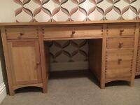 Solid Ash desk/Solid Ash filing cabinet