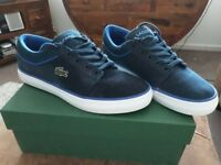LACOSTE BLUE CANVAS TRAINERS SIZE 8